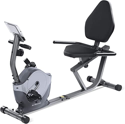 MaxKare Recumbent Exercise Bike Indoor Cycling Stationary Bike with Adjustable Seat and Resistance, Pulse Monitor Phone Holder Seat Height Adjustment by Knob