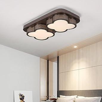 Rechteckige LED Deckenleuchte 2 Lichter Blume Form Acryl Decke Anhänger  Licht Schatten Braun Eisen Led Deckenleuchte