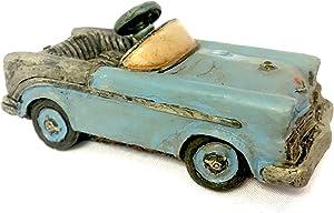 Popular Imports Miniature Antique Blue Pedal Car for Fairy Garden or Home Decor