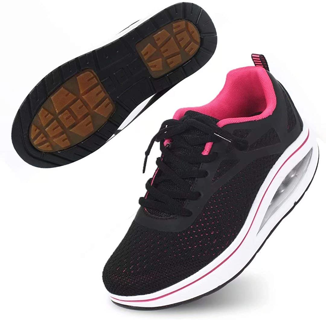 Binkasen Womens Cross Training Shoes Non-Slip Breathable Mesh Athletic Shoes Lace-up Sneaker