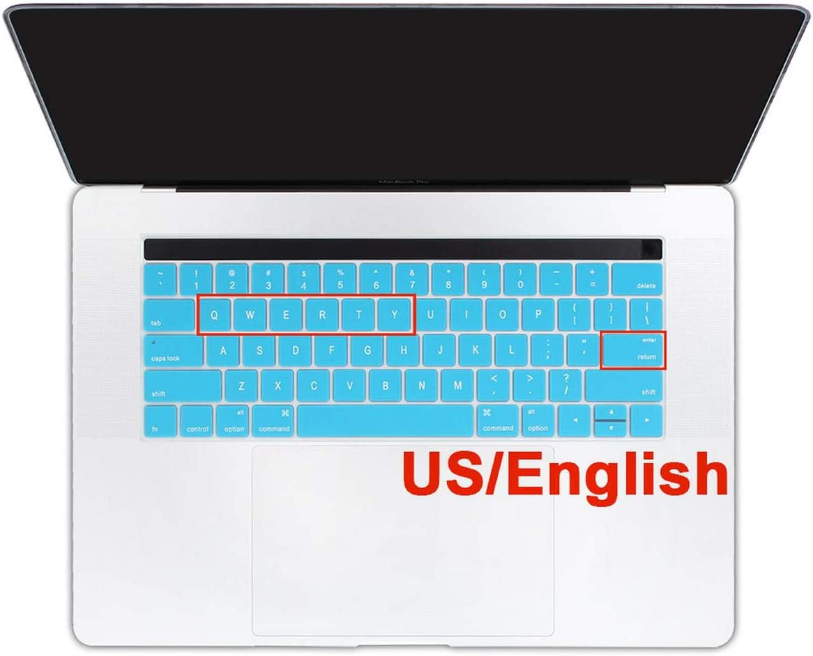 for MacBook Pro 13 15 13.3 15.6 Touch Bar A1706 A1707 A1989 A1990 A2159 US English Keyboard Cover Protector Skin Sticker Cover-Pink