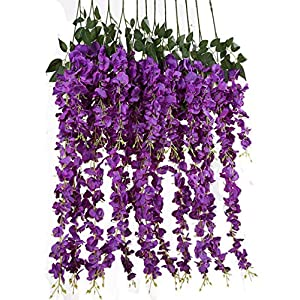 Gatton 3.18 Feet Artificial Silk Wisteria Vine Ratta Silk Hanging Flower ding Decor,6 Pieces,(Purple) | Model WDDNG - 393 | 40