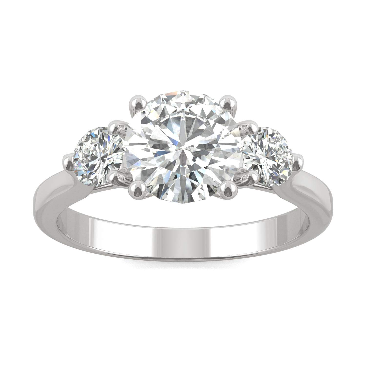 14K White Gold Moissanite by Charles & Colvard 7mm Round Engagement Ring-size 6, 1.52cttw DEW