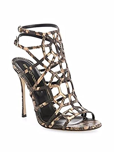e6e0cff1eb18 Image Unavailable. Image not available for. Color: Sergio Rossi Puzzle  Leather Cage Sandals 38