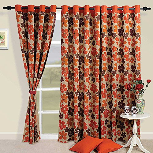 ShalinIndia Colorful Cotton Door Curtains-54 x 84 Inch Modern Orange, Rust and Brown Pansy Floral Set of 2 Panels