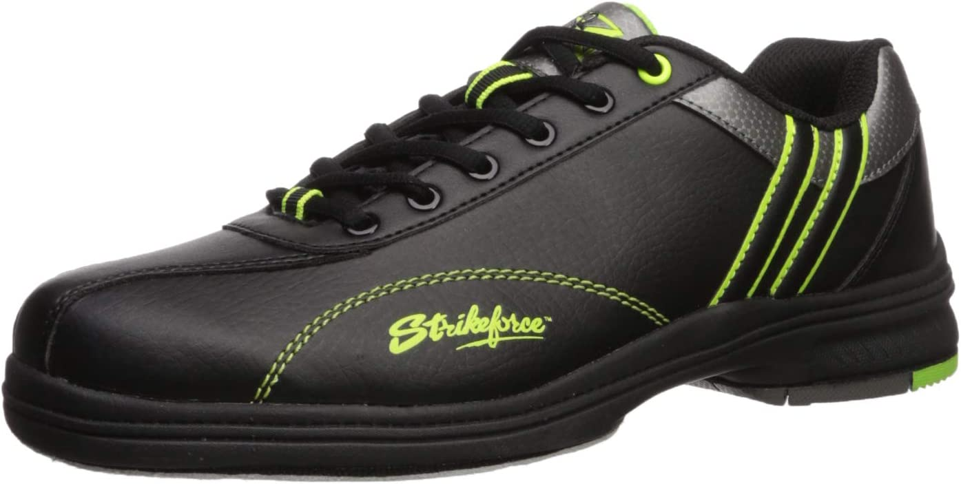 (Size 11.5, 黒/Lime) - KR Strikeforce Mens Raptor Performance Bowling Shoes- Right Hand