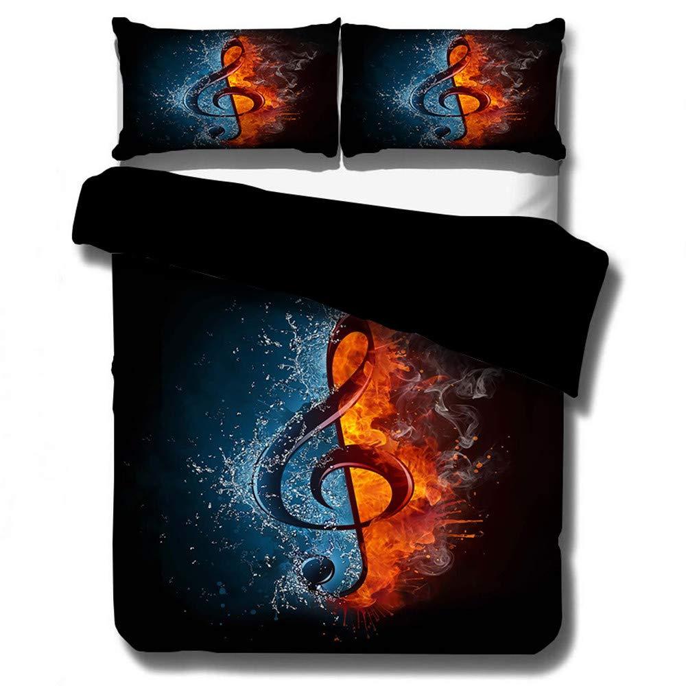 DXSX Parure de lit avec Housse de Couette 3D Flamme CD Guitare Microphone Note de Musique Microfibre Hommes Jeunes Gar/çons Enfants Housse de Couette et Taies doreiller CD, 140 x200 cm
