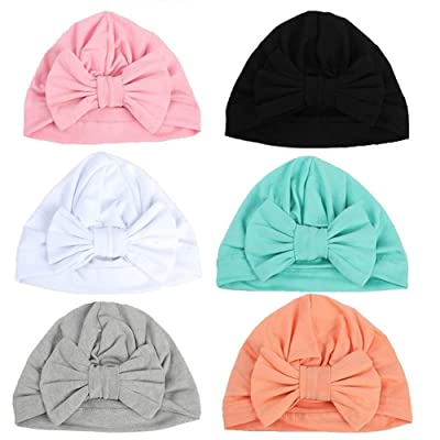 Adeimoo Baby Girls Hospital Hats Toddlers Soft Turban Knot Bow Cap