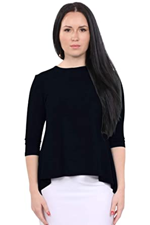 6ea951f6443d Kosher Casual Women's Modest Slimming 3/4 Sleeve Flared 'Hi-Low' Tunic