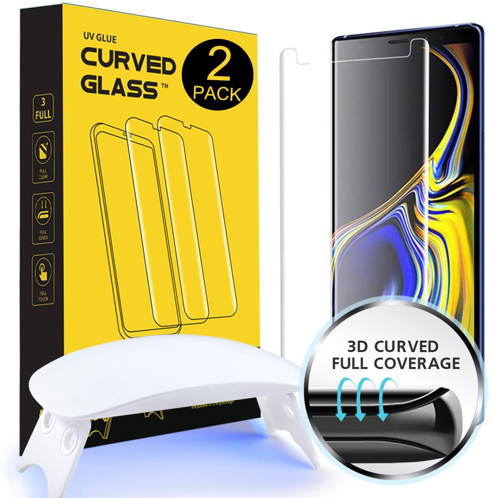 NI-SHEN [2 Pack] Galaxy Note 9 Screen Protector Glass, [Case Friendly] 3D Curved Full Coverage Tempered Glass [Liquid Dispersion Tech] With Easy Installation Kit for Samsung Galaxy Note 9 (6.4 Inches)