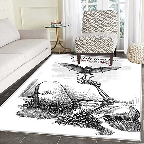 (Halloween Print Area Mat Dead Skull Skeleton Out of The Grave and Flying Bat Hand Drawn Spooky Picture Perfect for Any Room, Floor Carpet 4'x6' Black)