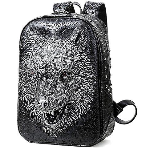 Bolsa de hombro doble 3D Tiger Head iPad mochila Plateado