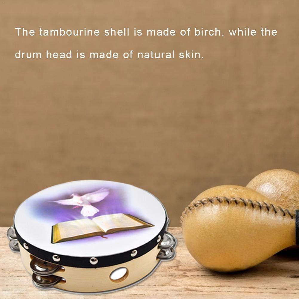 8in Per Tambourine Dove Bible Double Row Jingle Percussion Instrument for Church Hand Percussion 10in