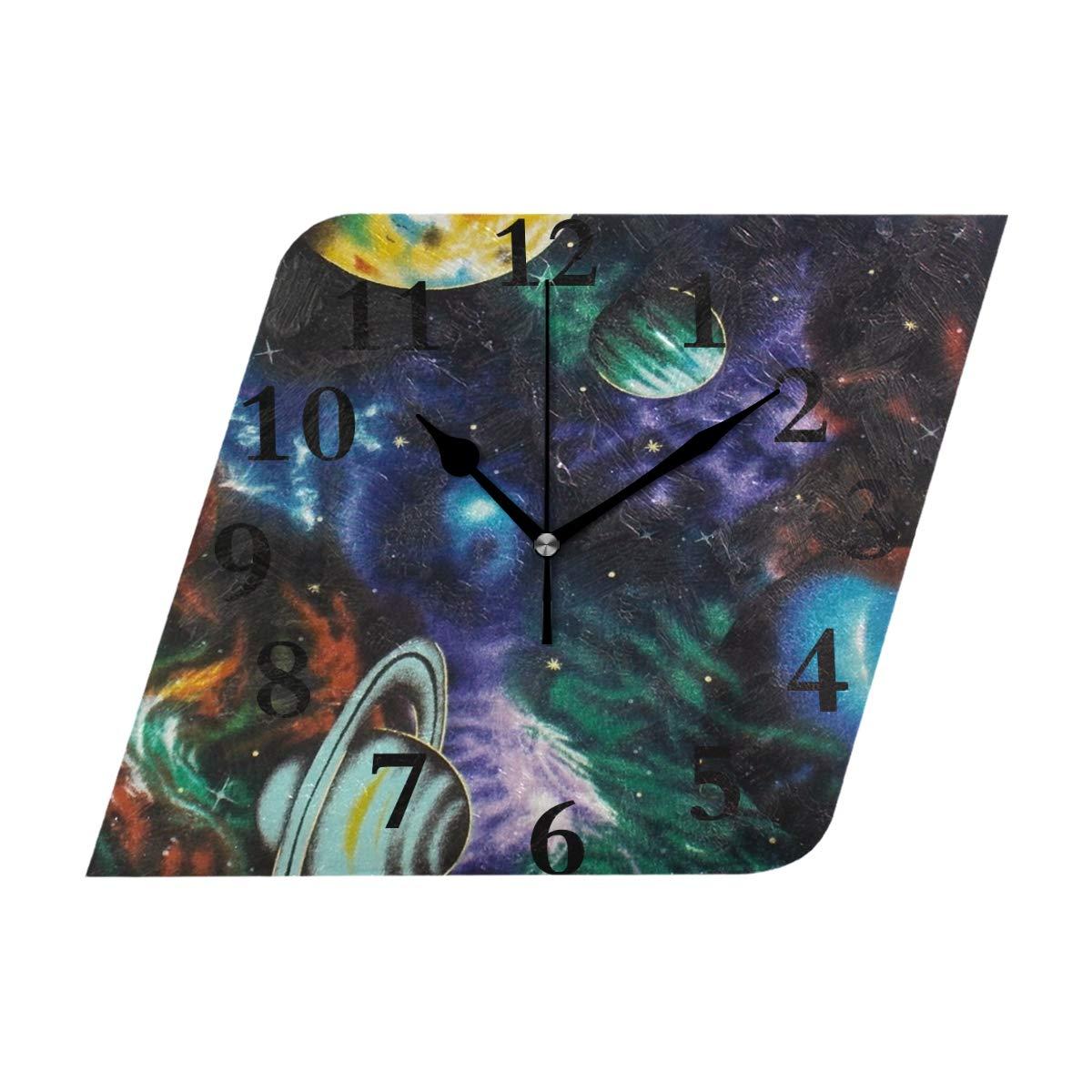 NMCEO Rhombus Wall Clock Galaxy Solar System Acrylic Silent Non-Ticking for Home Decor Creative