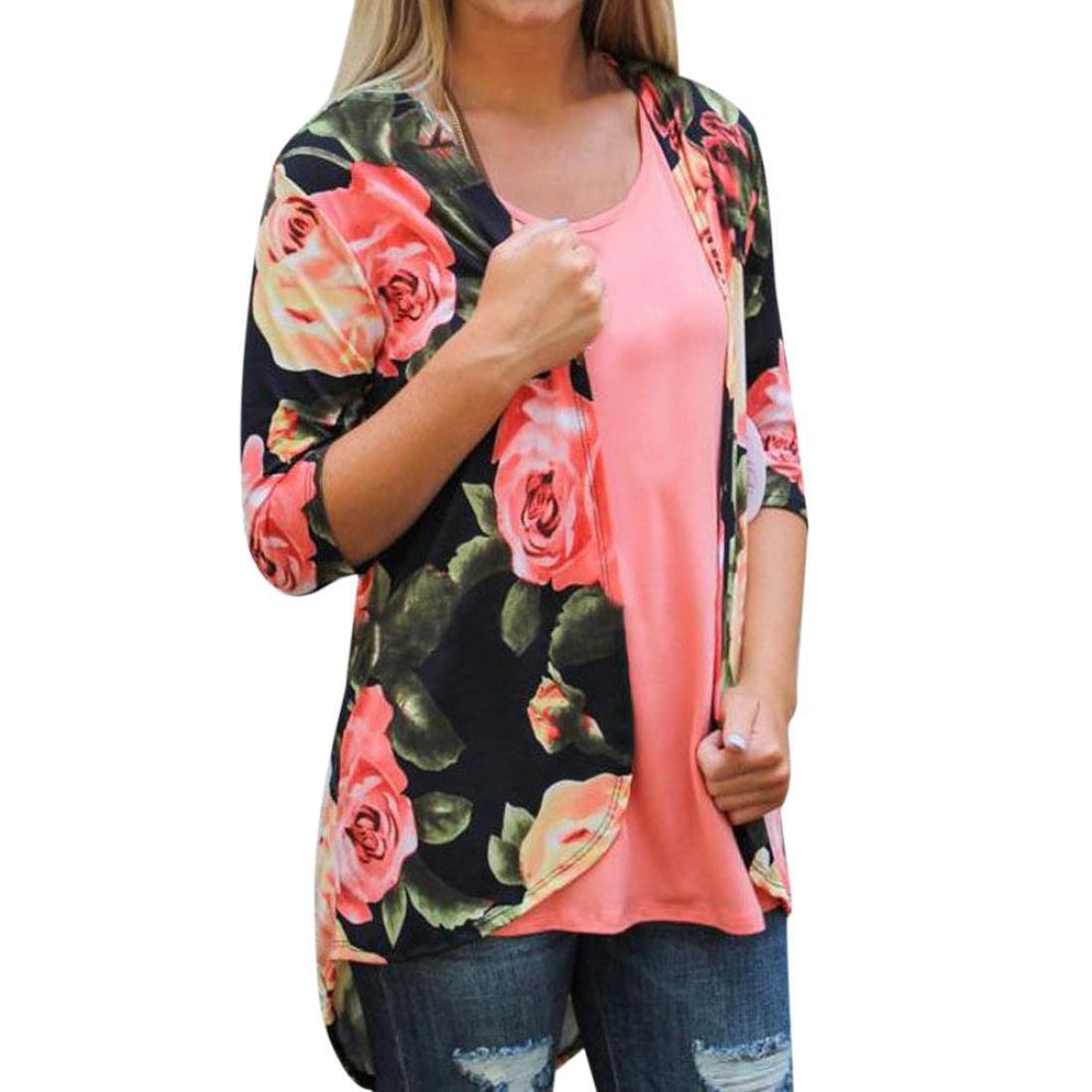 Hiroo Faldas sueltas de la rebeca del kimono del mantón flojo de la impresión floral Retro Irregular dobladillo cubrir el abrigo Suéteres Suaves Grande para la fiesta diaria de la playa