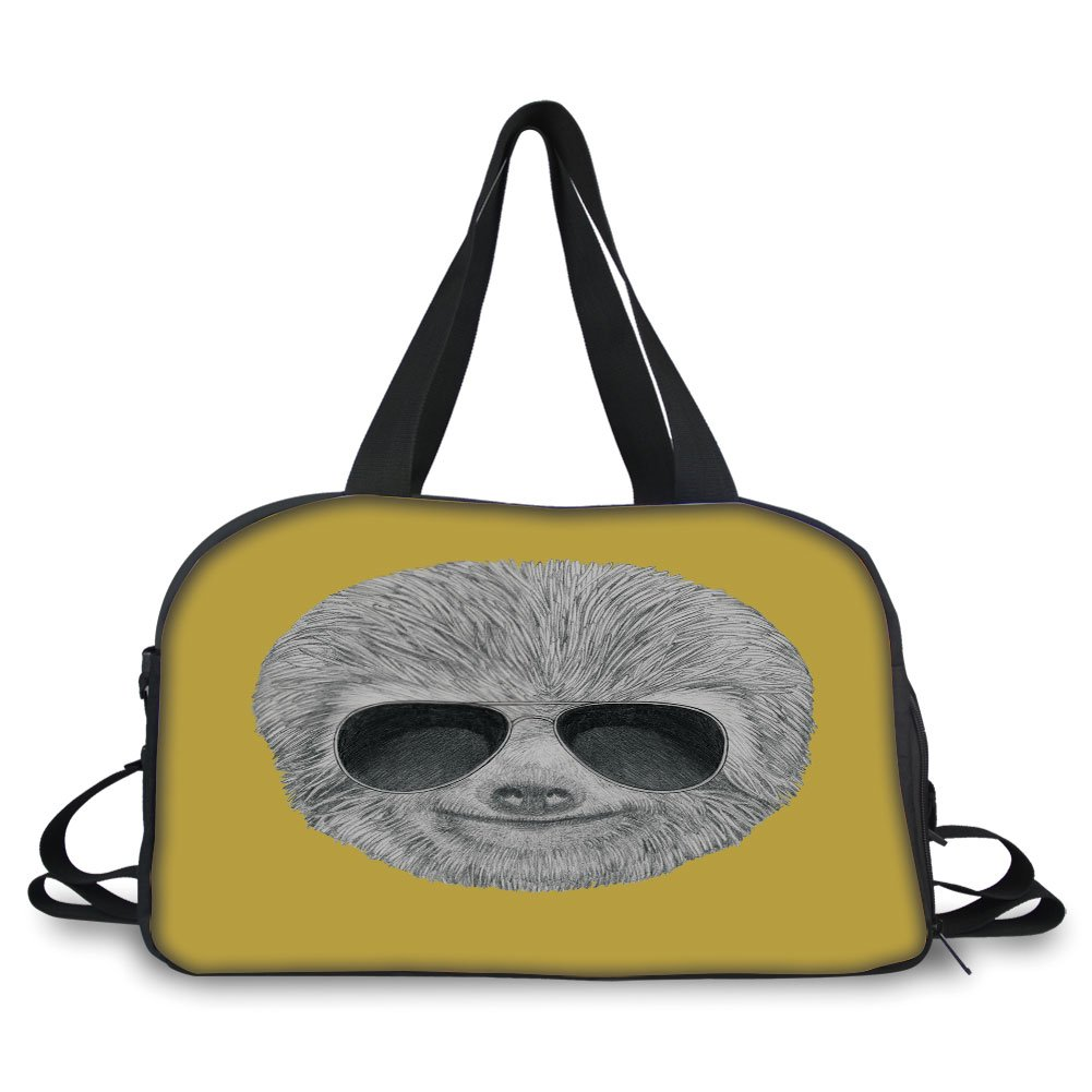 iPrint Travel handbag,Sloth,Hipster Jungle Animal with Sunglasses Smiling Funny Expression Cool Character Print Decorative,Yelow Grey ,Personalized