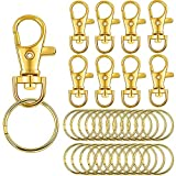 BronaGrand 50 PCS Swivel Lanyard Snap Hooks Strong Key Chain Rings and Lobster Clasps Trigger Clips for DIY Bags, Jewelry and Craft Making