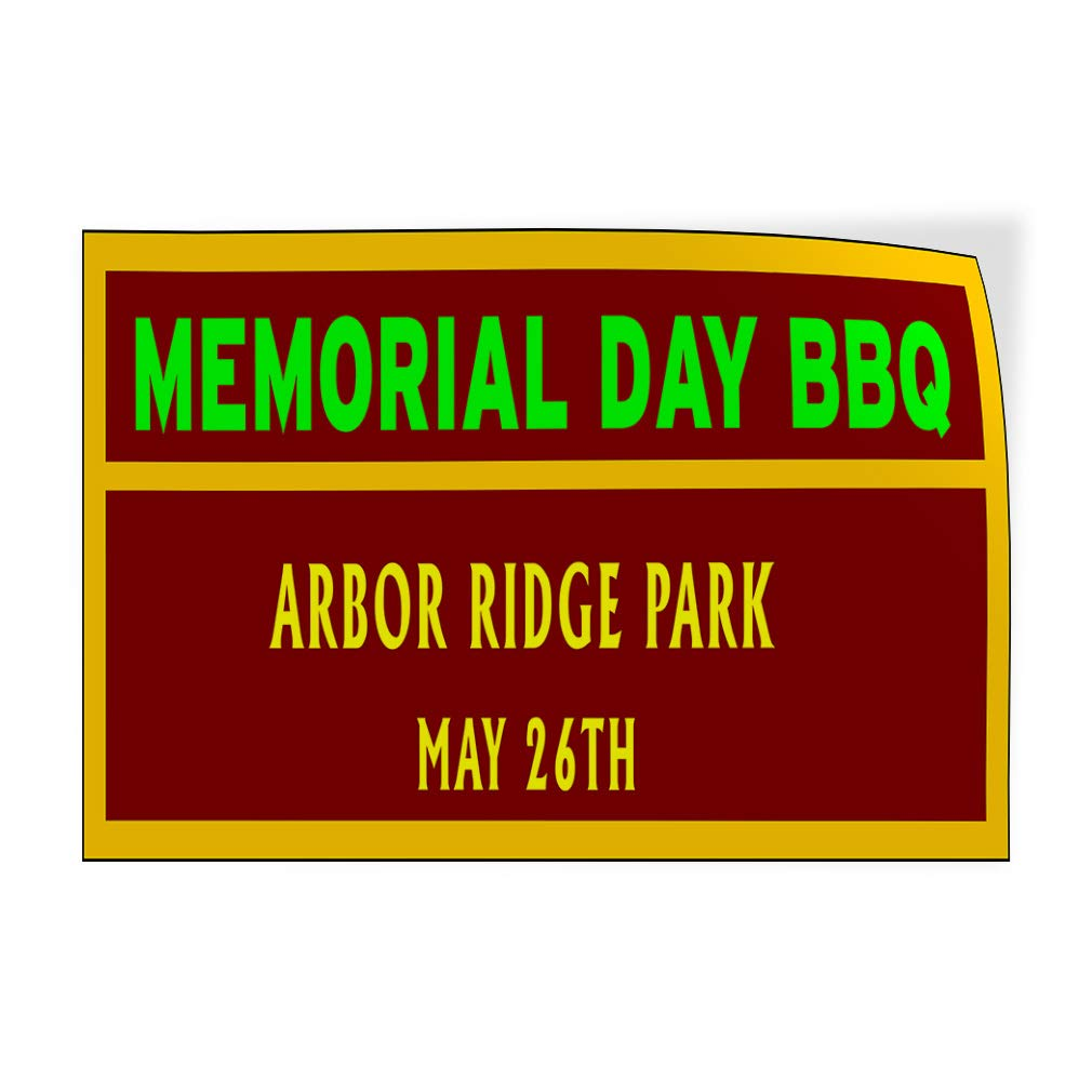 Custom Door Decals Vinyl Stickers Multiple Sizes Memorial Day BBQ Location Date Holidays and Occasions Memorial Day Outdoor Luggage /& Bumper Stickers for Cars Red 54X36Inches Set of 2