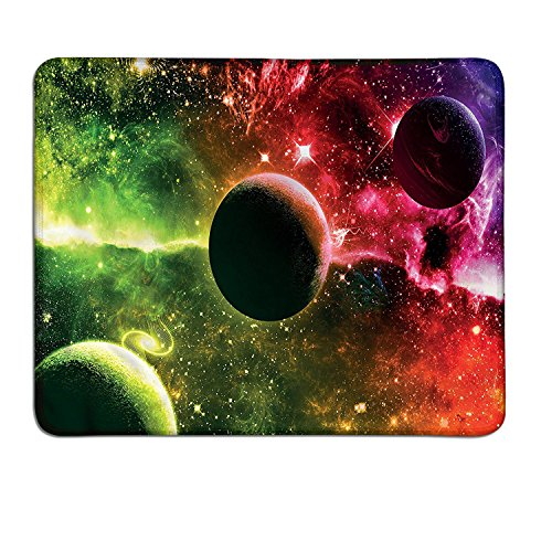 Psychedelic gaming mouse pad Space Universe Cosmos Galaxy Nebula Stars and Planets in Trippy Tones Imagecustomizable mouse pad Magenta Green