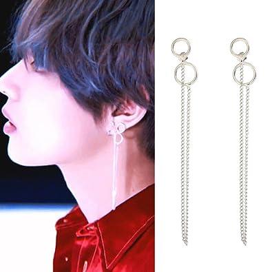648b57686 1 Pair KPOP BTS V Earrings Bangtan Boys V Stud Doulbe Ring Silver Ear Stud  Chain