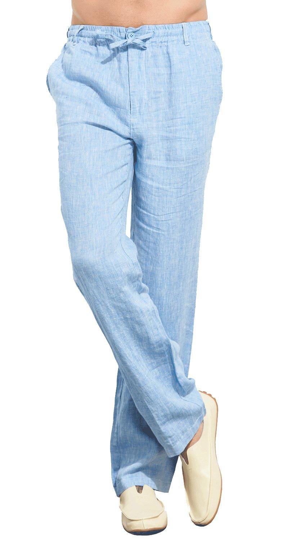 UAISI Linen Pants Men Summer Casual Drawstring Work Pants White