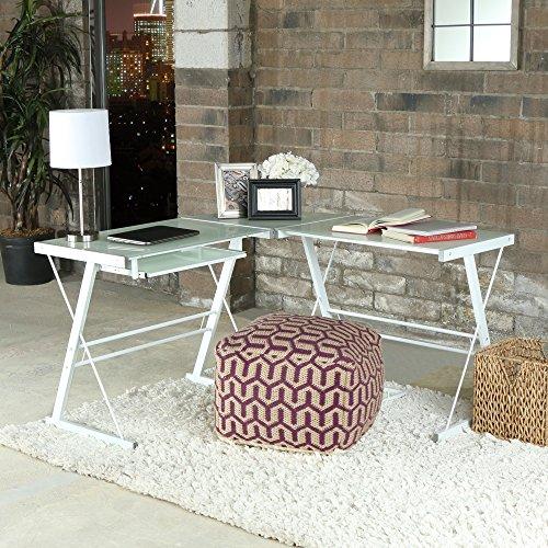WE Furniture Glass Metal Corner Computer Desk - Michaels Office Desk