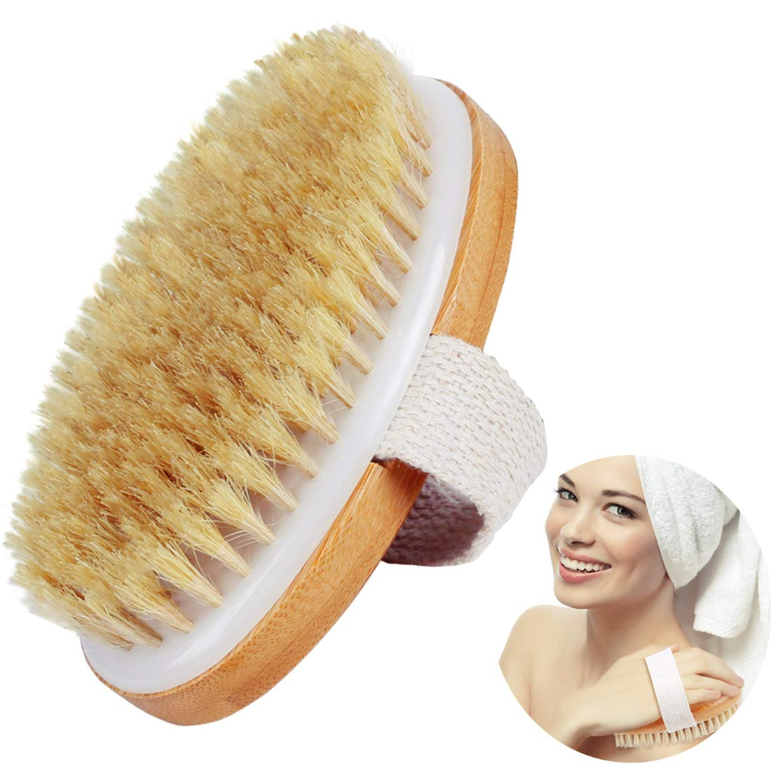Dry Body Brush-100% Nature Boar Bristles Bamboo Shower Bath Brushes for Exfoliating - Help your Cellulite Reduction Body Massage Glowing Skin -Improves Lymphatic Functions,Sleep Improvement-by Ecobambu