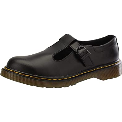 5af0d1e68a32e Amazon.com | Dr. Martens Girls Youth Polley Black T Lamper Leather School  Shoes Size 5 | Flats