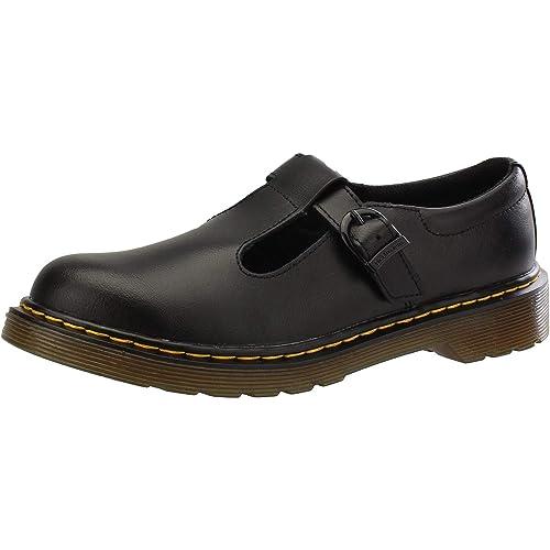 Dr Martens Youth Polley T Lamper Leather Buckle Shoe Black-Black-4 (Older