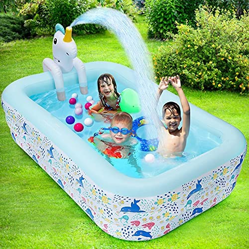 Inflatable Pool for Kids,Swimming Kiddie Pools for Children, Blow Up Family Pool for Kids, 94.5″ X 65″ X 24″ Pool with Unicorn Spray Sprinkler ,Swimming Center Pool for Toddlers