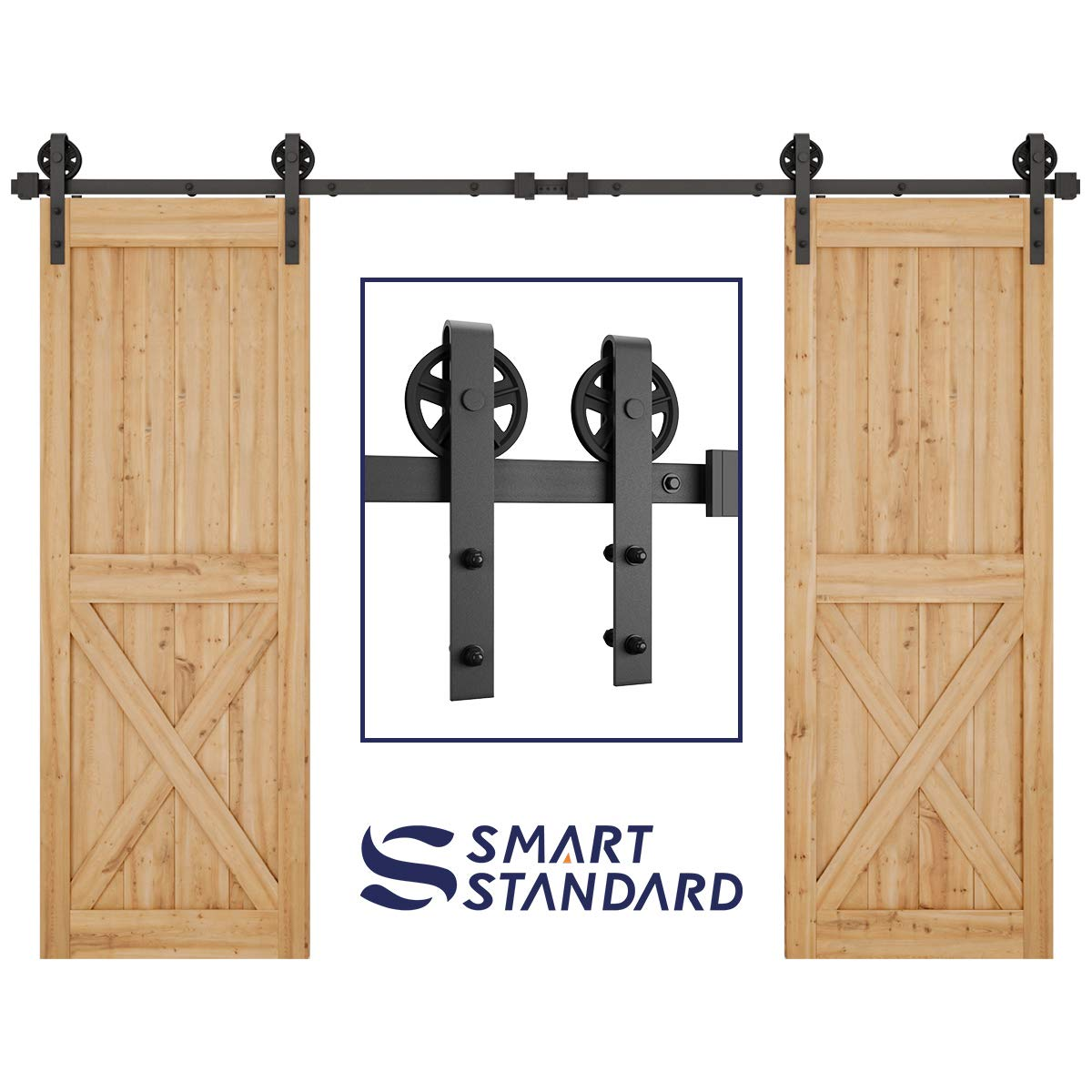 """SMARTSTANDARD 10FT Double Gate Heavy Duty Sturdy Sliding Barn Door Hardware Kit, Two-Piece Rail, Black, Smoothly and Quietly, Easy to Install, Fit 30"""" Wide DoorPanel (Big Industrial Wheel Hanger)"""