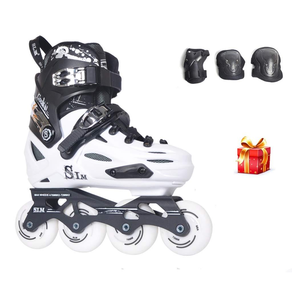 インラインスケート インラインスケート、成人用1列スケート靴、プロ用ポータブルローラースケート(白) (色 : C, サイズ さいず : Adjustable (40-44)) C Adjustable (40-44)