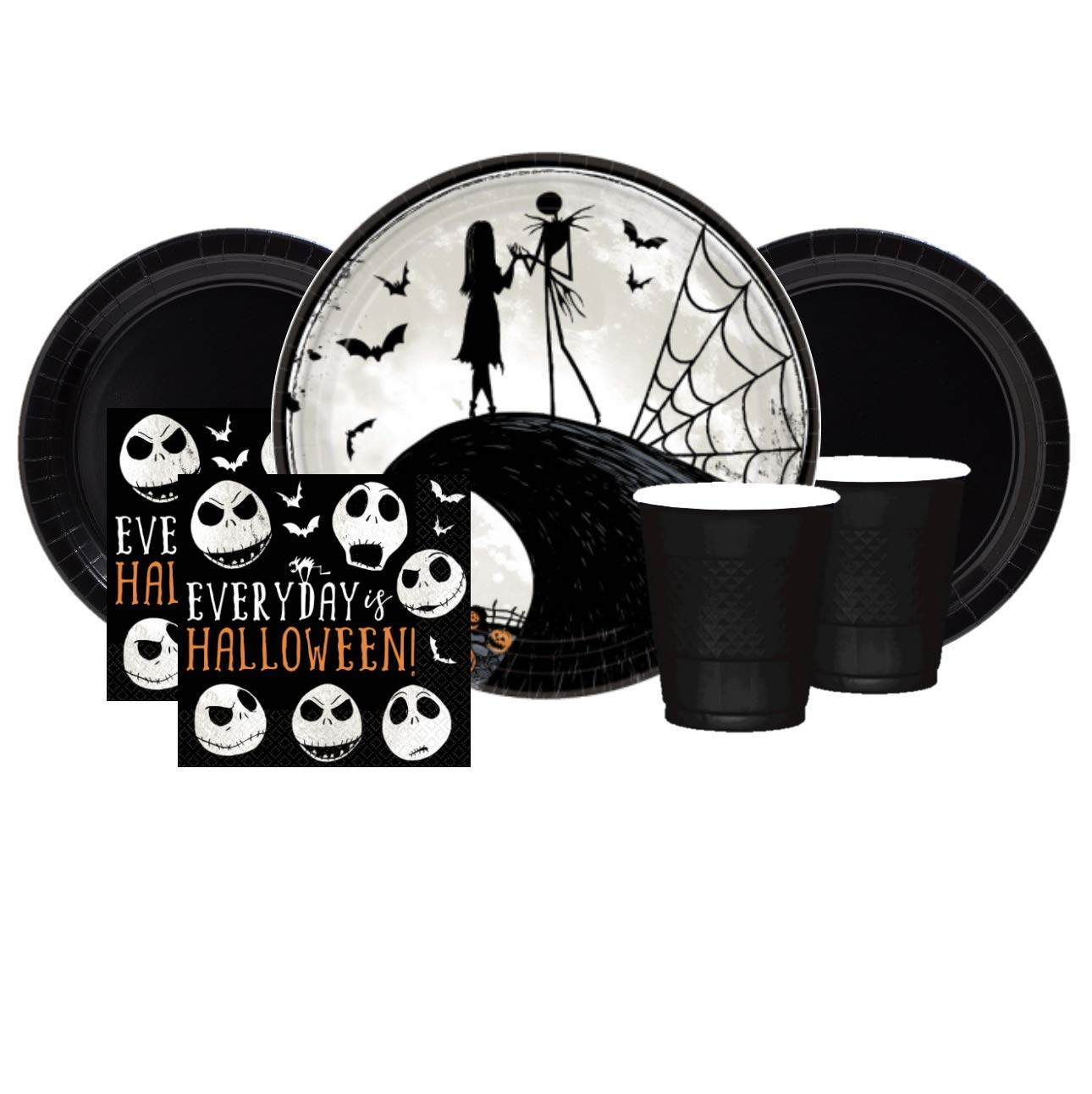 Nightmare Before Christmas Party Supplies Halloween Tableware for 20 Guests Disposable Plates Napkins Cups