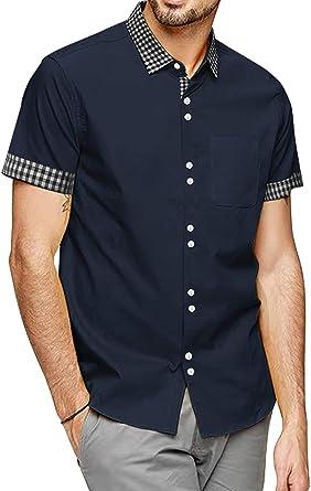 COOFANDY Camisa de Manga Corta para Hombre, de Corte Regular, para Tiempo Libre, fácil de Planchar, para Hombre, Bolsillo en el Pecho, algodón, Camisas para Hombres: Amazon.es: Ropa y accesorios