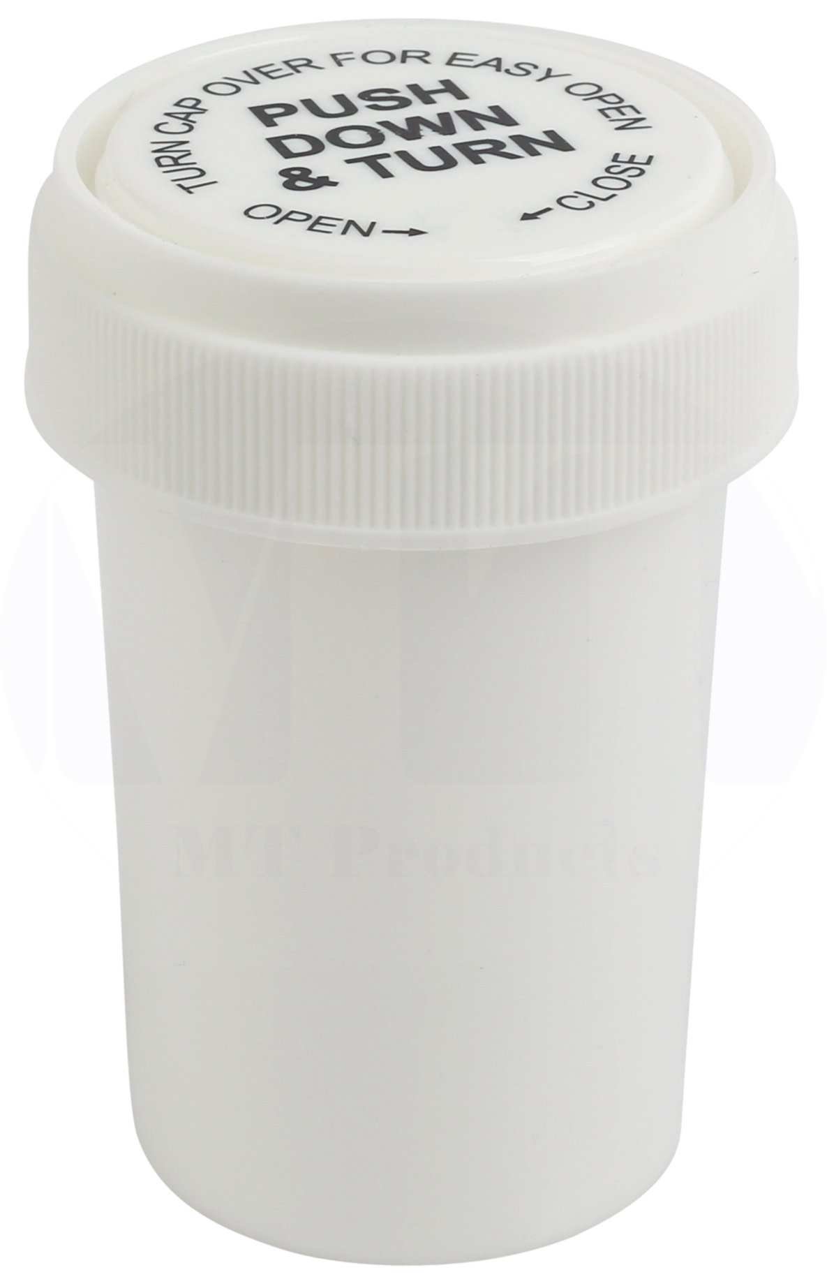 White Push and Turn Reverse Cap Child Resistant Prescription Bottle by MT Products - (15 Pieces) (30 Dram)