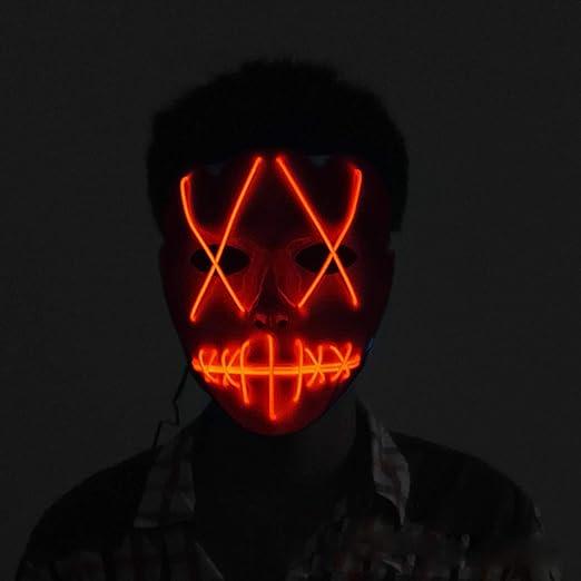Led Mascaras, Scary Halloween Cosplay LED El Wire IIumina Las Máscaras de La Mueca Fiesta de Disfraces Fiesta Suministros Rojo: Amazon.es: Juguetes y juegos