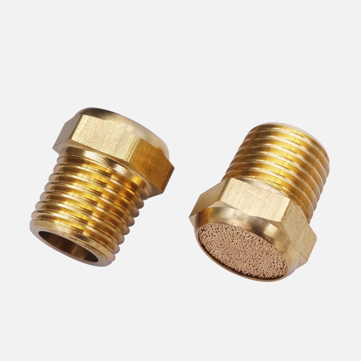 1-4 mxuteuk 10pcs Brass Pneumatic Muffler Filter Noise Silencer Hex Sintered Silencer Air Line Fitting Flat 1//4 NPT XYQ-P-