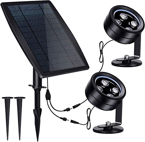LED Solar Landscape Spotlights, IP68 Waterproof Solar Powered Wall Lights 3-in-1 Wireless Outdoor Solar Landscaping Light for Yard Garden Driveway Porch Walkway Pool Patio Cold White
