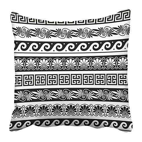 Geometric Greek Vases - Emvency Decorative Throw Pillow Covers Cases Athens Ancient Greek Pattern Antique Borders from Greece Wave Vase Abstract Architecture Culture 16x16 inches Pillowcases Case Cover Cushion Two Sided