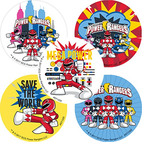 (SmileMakers Power Rangers Stickers - Prizes 100 per Pack)