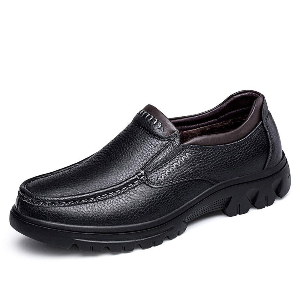 WANG-LONG Schuhe Herren Martin Stiefel Herbst Und Winter Outdoor Plus Samt Warme Business-Baumwolle Lederschuhe Rutschfeste Mode,schwarz-39