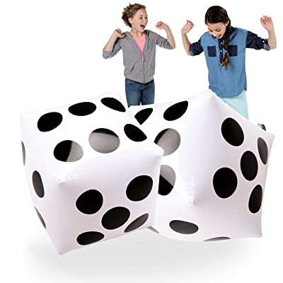 "20"" Jumbo Inflatable Dice 2 PCS by Novelty Place, 20 Inch White and Black Giant Dice for Indoor and Outdoor Broad Game, Ludo and Pool Party: Toys & Games"
