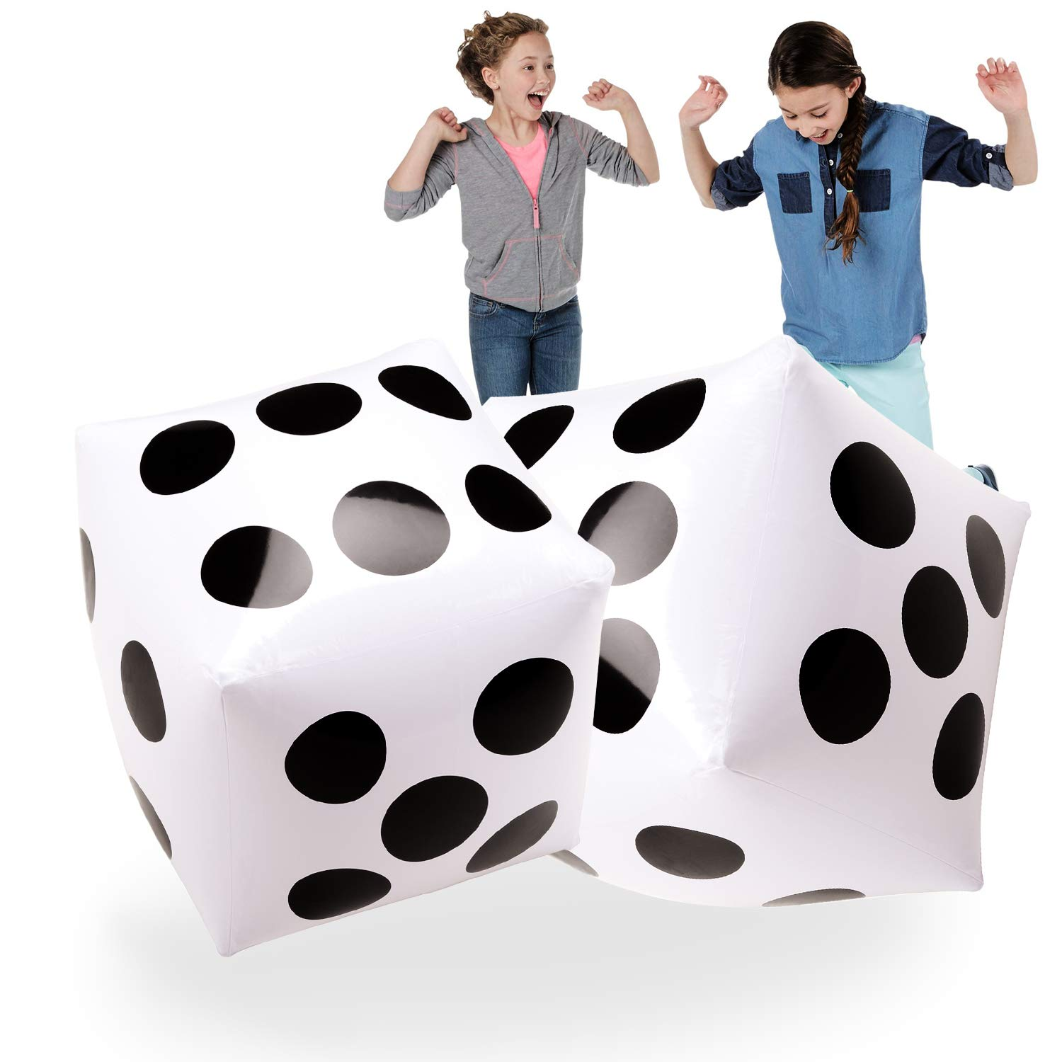 Novelty Place 20'' Jumbo Inflatable Dice 2 PCS, 20 Inch White and Black Giant Dice for Indoor and Outdoor Broad Game, Ludo and Pool Party by Novelty Place