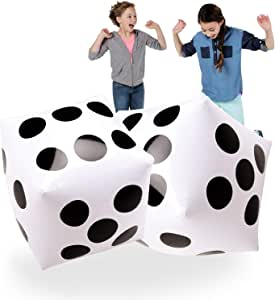"""20"""" Jumbo Inflatable Dice 2 PCS by Novelty Place, 20 Inch White and Black Giant Dice for Indoor and Outdoor Broad Game, Ludo and Pool Party"""