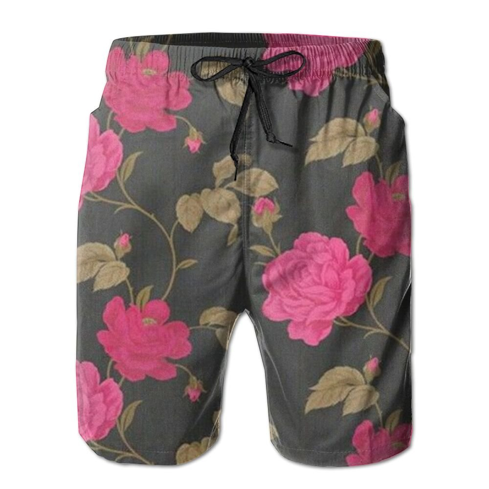YFBJGS Color Rose Mens Beach Board Shorts Quick Dry Summer Casual Swimming Soft Fabric with Pocket