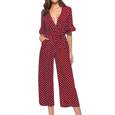 c8a8129dd56 Amazon.com  Corriee Women Spring Stylish Polka Dot Printed V-Neck Half  Sleeve Wide Leg Romper Pants Long Jumpsuit  Clothing