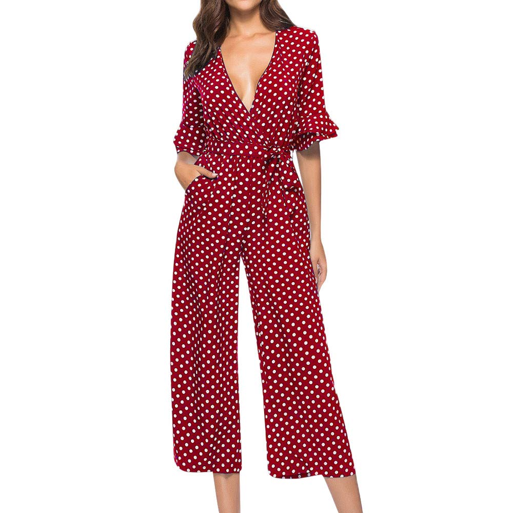 Women Fall Stylish Jumpsuit Sexy V-Neck Polka Dot Romper Casual Streetwear Playsuit (XL, Red)