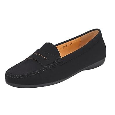 JENN Ardor Mocasines con Cordones de Ante para Mujer: Cuero Vegano con Suela de Mocasines de conducción cómoda-Negro: Amazon.es: Zapatos y complementos