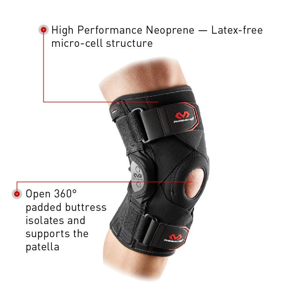 Mcdavid Knee Brace Stabilizer & Compression Sleeve w/ Side Hinges & Cross Straps for Knee Support, Injury Recovery & Prevention from Moderate to Major Injuries, for Men & Women