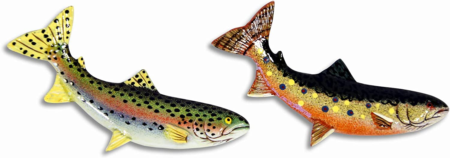 LX Hand Painted Assorted Brook Trout Rainbow Trout Fish Refrigerator Magnet (Set of 2)